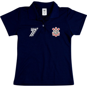 Camisa Do Corinthians Feminina Baby Look Preta Blusa Polo