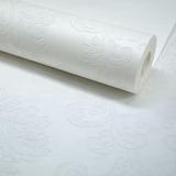 Papel De Parede Rolo Texturizado Damask Branco Com Glitter