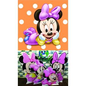 Kit Displays Minnie Rosa Baby 8 Peças + Painel 2.00x1.40.