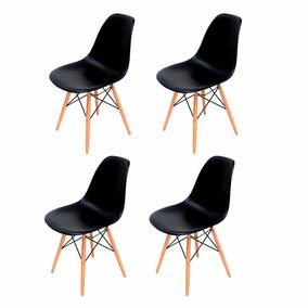 Kit Conjunto 4 Cadeiras Eiffel Eames Dsw Pretas Base Madeira