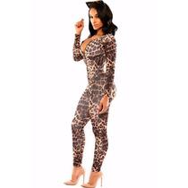 Moda Sexy Body Animal Print Leopardo Table Dance 6961