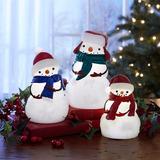 Muneños De Nieve En Cera Para Navidad Set De 3 Piezas