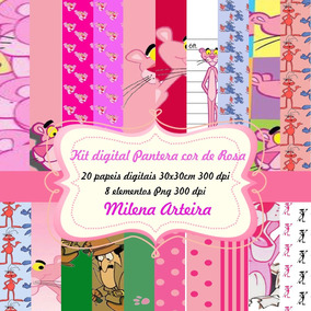 Kit Digital Pantera Cor De Rosa