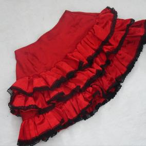 Saia Fantasia Figurino Cigana/ Espanhola Vermelha E Preta