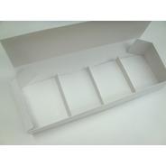 Caja Rectangular 38x12x6 Cm C/ 4 Divisiones De 12x9,4 Cm  (x 50 U.) Porción Individual Lingotes Postres - 056b4 Bauletto