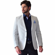 Saco Casual Hombre Corte Slim Fit Blanco Puntos Rack & Pack
