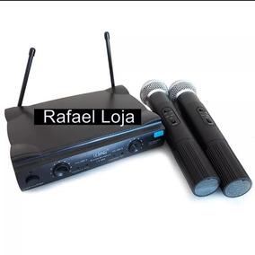Microfone Sem Fio 100m Duplo Wireless 110v 220v Uhf Karaokê