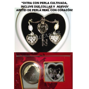Perla Cultivada En Ostra+ Aretes Dperla Collar Regalo Amor