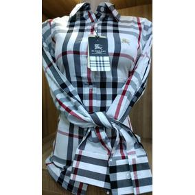 ff2966ec38 Camisa Burberry Feminina Original - Camisa Manga Longa Branco no ...