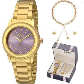 Kit Relógio Allora Feminino Pulseira E Brincos Al2036fij/k4g