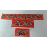 Emblema Kit Peugeot¿ 3 Peças Peugeot + 206+1.6 Cromado