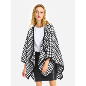 Zanstyle Capa Coat Houndstooth Fotos Valores Fotos Casual