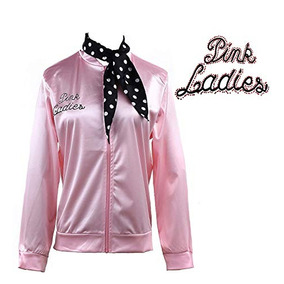 50s Grease Pink Ladies Satin Jacket T-bird Danny Traje Lunar e5bdd6b767d06