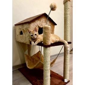 Brinquedo Arranhador Com Casa Com Rede Grande Alta Gatos Top