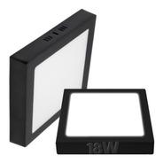 Plafon Led Cuadrado Aplicar 18w Panel Borde Negro Exterior