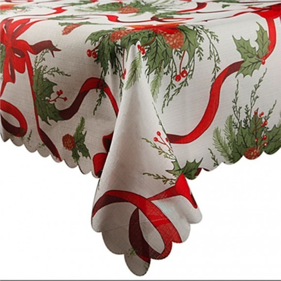 Mantel Navide?o Antimanchas 100% Polyester 1.5x3 Deconamor