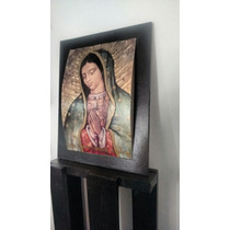 Cuadro Virgen Guadalupe, Marco Madera Color Chocolate.