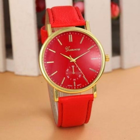Relógio Pulso Feminino Geneva Vermelho Pulseira De Couro Pu