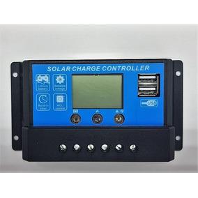 Controlador De Carga Painel Pwm Solar Usb Lcd 10a 12v/24v