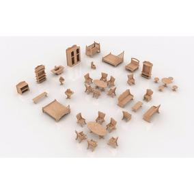 Kit 34 Mini Móveis Miniaturas Mdf Para Casa De Boneca Polly