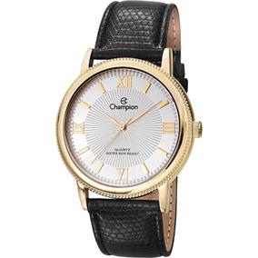 fda1c27c607 Relógio Feminino Couro Preto dourado Analógico Champion