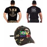 Camiseta Glock + Boné Paraquedista + Camiseta Israel Defense