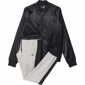 Conjunto adidas Dama Youngwoven Suit Negro-gris Los Gallegos