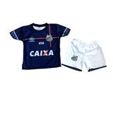 Conjunto Infantil Santos Short + Camisa Uniforme Pronta Entr 07efc98955ce1
