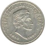 Moneda 20 Centavos De Colombia 1810-1960 - Sesquiscentenario