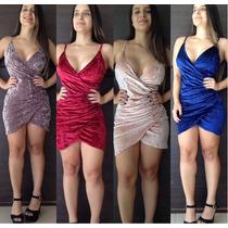 Vestido Feminino Curto Veludo Alcinha C/ Bojo 2017 Promoção
