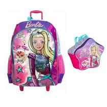 Mochila Barbie Aventura Nas Estrela Rodinhas Rosa Lancheira
