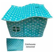 Casinha Cachorro Pequeno Casa Toca Pet Luxo Plush Verde Poá
