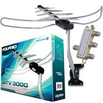 Antena Digital 3 Em 1 Vhf Uhf Hd + Divisor Dtv3000 Aquario
