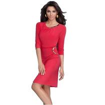 · Oferta Vestido Cherry Elegantes Detalles Cuello Y Cintura