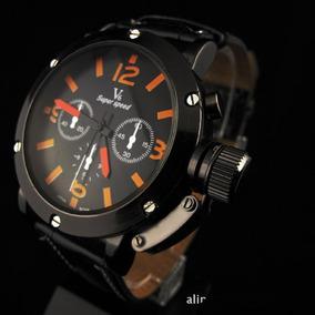 Relógio Social Masculino Luxo V6 Pulseira Couro Caixa De Aço
