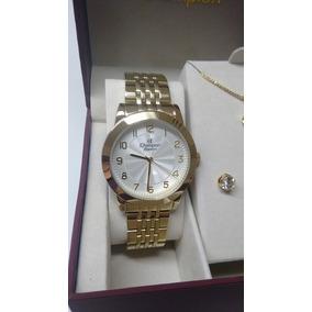 Relógio Feminino Dourado Champion Com Kit Semijoias