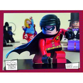 Souvenir Aplique Cumple Madera 10cm Héroe Lego Robin Batman