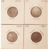 Liberty Head V Nickel 5 Cents Monedas 1910 Al 1912 Y 1912 D