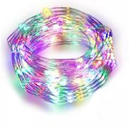 Tira Led Cable Hilo Alambre Luces Led A Pila 3 Mt Multicolor
