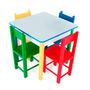 Mesa Infantil Colorida Com 4 Cadeiras De Madeira Mdf Carlu