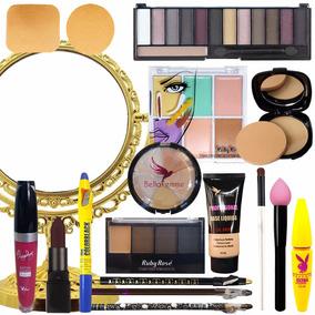 Kit De Maquiagem Pincéis Necessaire Espelho Sombra Batom