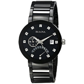 Bulova Mens 98d109 Diamond-accented Black Stainless Steel Wa