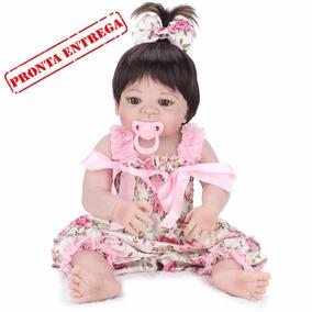 Bebe Reborn Menina 100% Silicone 55 Cm Pronta Entrega