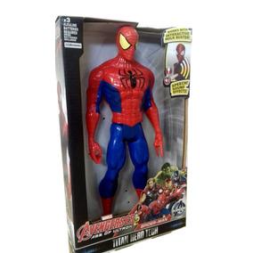 Boneco Homem Aranha Vingadores 30cm Articulado Som E Luz