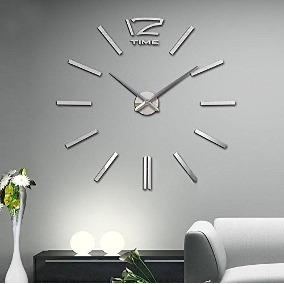 Reloj Grande De Pared Decorativo Sticker Espejo 120 Cms