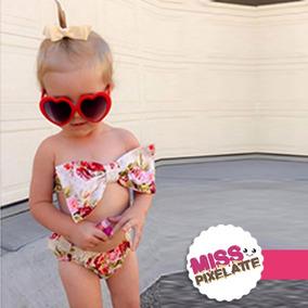 Traje De Baño Bikini Para Niñas - Vintage Floral Súper Lindo
