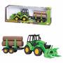 Trator Carregadeira Tora Com Carreta E Acessórios Brinquedo