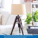 Lámpara De Mesa Tripode 1 Luz En Madera Caperuza Blanca E27