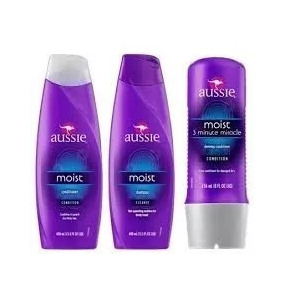 Kit Aussie Shampoo + Condicionador + Moist Milagre 3 Minutos
