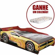 Mini Cama Infantil Hot Wheels Com Colchão - Carro